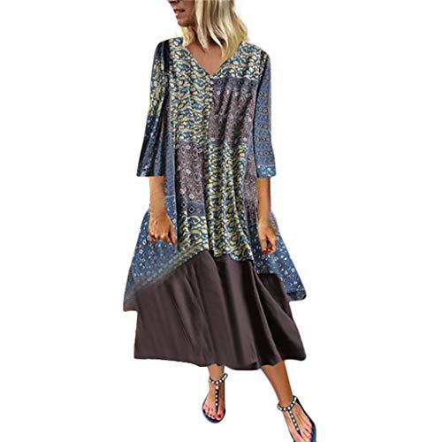 (WILLBE Women Vintage Print Dress O-Neck Patchwork Medium Long Sleeve Dress Women Cotton and Linen Dress Print Skirt Light Blue)