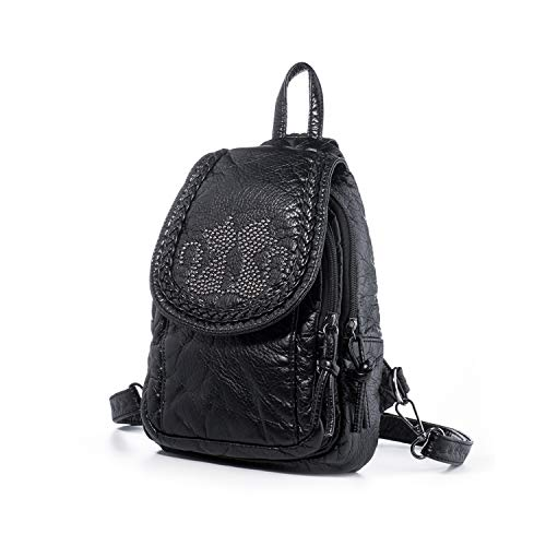 Katloo Mini Backpack Purses Women Small Vegan Leather Sling Bag Nail Clipper Black