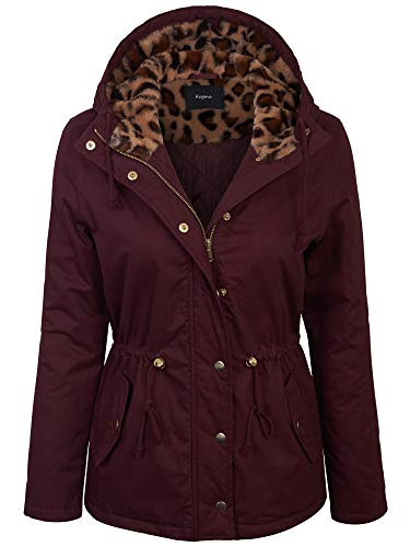KOGMO Womens Zip Up Anorak Quilt Lined Jacket with Leopard Lining Hoodie-S-Wine