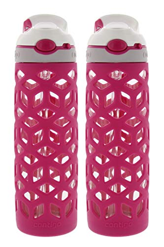 Contigo AUTOSPOUT Ashland Glass Water Bottle w/ Silicone Sleeve - Spout Shield Protects from Germs - BPA Free- Top Rack Dishwasher Safe -Great for Home and Travel - 20 Ounces, Berry (2 Pack)