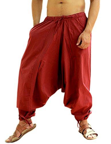 Sarjana Handicrafts Men's Cotton Harem Yoga Baggy Genie Boho Pants (Free Size, Maroon) (Harem Pants Red Yoga)