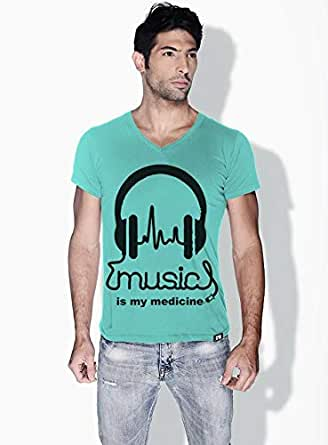 Creo Music Is My Medicine Trendy T-Shirts For Men - L, Green