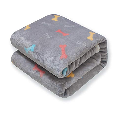 (furrybaby - Upgrade Double Layer Thick - Premium Flannel Fleece Dog Throw Blanket Soft and Warm Bone Prints Blanket for Puppy& Cat (Small 24x32''))