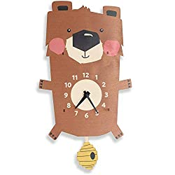 Birch Robot Forest Bear Wood Wall Pendulum Clock, Wall Decor for Baby Nursery, Kids Playroom, Bedroom, Woodland Nursery