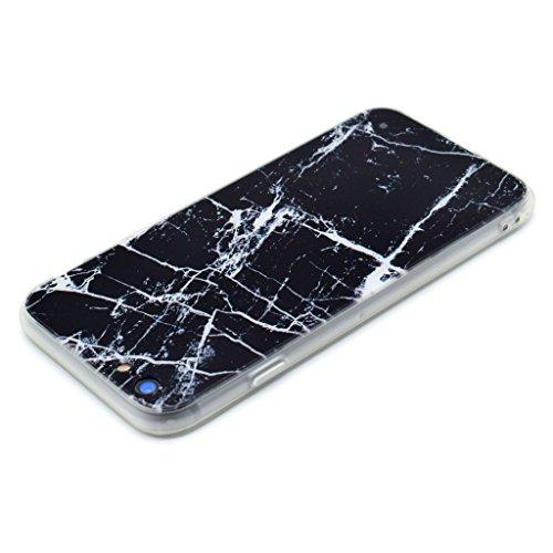 """Coque Cover iPhone 6 / 6S, IJIA Ultra-mince Motif Marbre Naturel Noir PC Dur et Les TPU Doux (2 en 1) Plastique Silicone Hard Bumper Case Cover Shell Coque Housse Etui pour Apple iPhone 6 / 6S 4.7"""" +"""