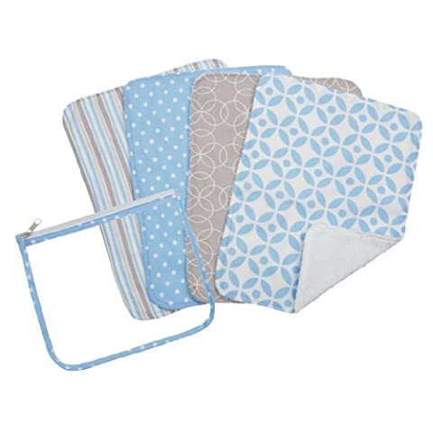 Trend Lab Zipper Pouch and 4 Burp Cloth Gift Set, Logan Blue - Pouch Gift Set