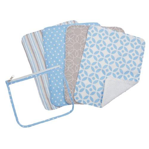 (Trend Lab Zipper Pouch and 4 Burp Cloth Gift Set, Logan Blue)