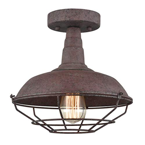 Dazhuan Rustic Semi-Flush Ceiling Lights Metal Barn Wire Cage in Rust Finish for Foyer Kitchen Mudroom, 1-Light
