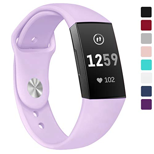 Hamile Bands Compatible for Fitbit Charge 3, Soft Silicone Watch Strap Replacement Band Wristband for Fitbit Charge 3 & Charge 3 SE, Women Men, Large, Lilac