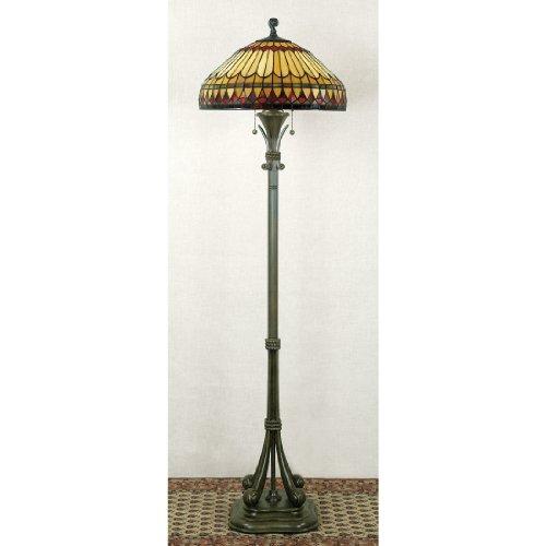 (Quoizel TF9320BB Two Light Tiffany Floor Lamp, Medium, Brushed Bullion)