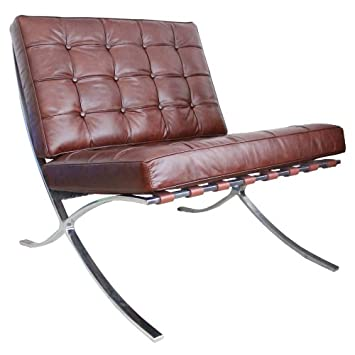 Barcelona Chair Vintage Chestnut Brown Leather Mies Van Der Rohe