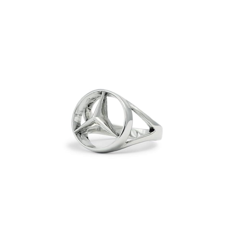 Silver Mercedes Benz Ring   CONCAVE HEXAGON