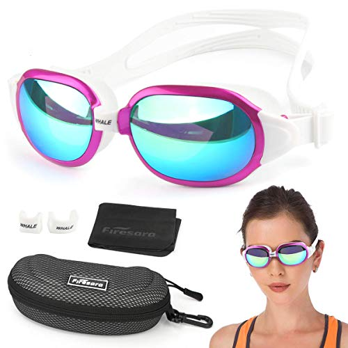 Swim Goggles,Firesara Swimming Goggles Large Frame Anti-Fog UV 400 Protection No Leaking 3D Ergonomic Eye Socket Pool Goggles with Portable Protective Case for Men Women Adult Teens Youth-Whale Series