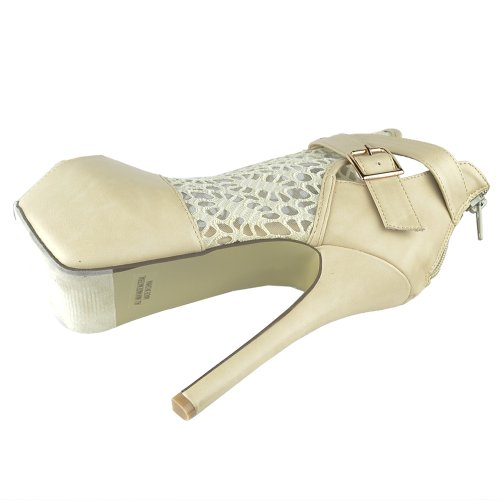 Womens Ankle Boots Peep toe Lace Mesh Cutout Platform Booties Nude Nude jyCq5vrjx