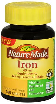65mg Tabs - Nature Made Iron 65 mg Tablets 180 ea (Pack Of 2)