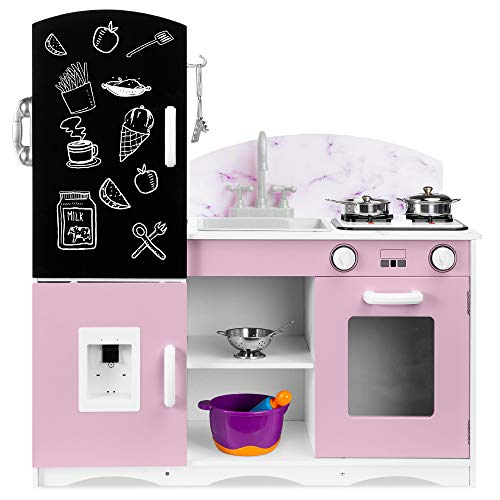 Best Choice Products Wooden Pretend Play Kitchen Toy Set for Kids w/ Chalkboard, Marble Backdrop, Realistic Design…