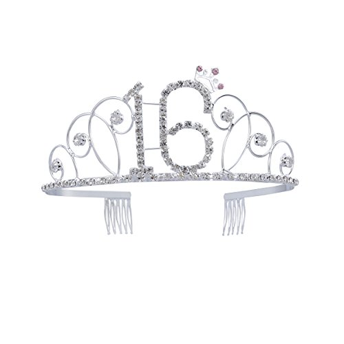 Frcolor Crystal Rhinestone Birthday Crown Sweet 16 Birthday Tiara (Silver)]()