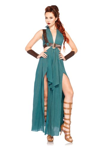 Warriors Costumes (Leg Avenue Women's 4 Piece Warrior Maiden Costume, Green, Small)