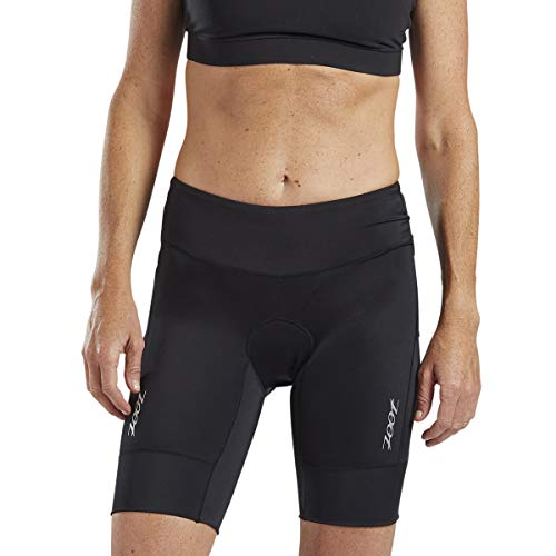 Zoot Core Women's 8-Inch Tri Shorts - Performance Triathlon Shorts with Endura Fabric and Hip Holster Pockets (Black, Medium)