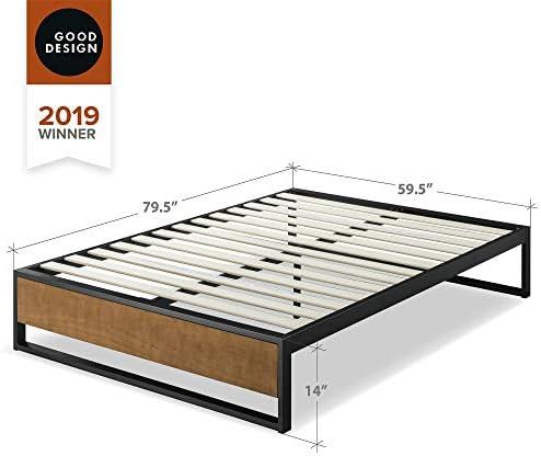ZINUS GOOD DESIGN Award Winner Suzanne 14 Inch Metal and Wood Platforma Bed Frame / No Box Spring Needed / Wood Slat Suport, Brown, Queen 41gXue0n5qL