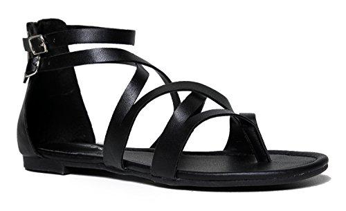 Breckelles Donna Open Toe Cinturino Alla Caviglia Cageut Flat Strappy Flat-sandals Nero - 65