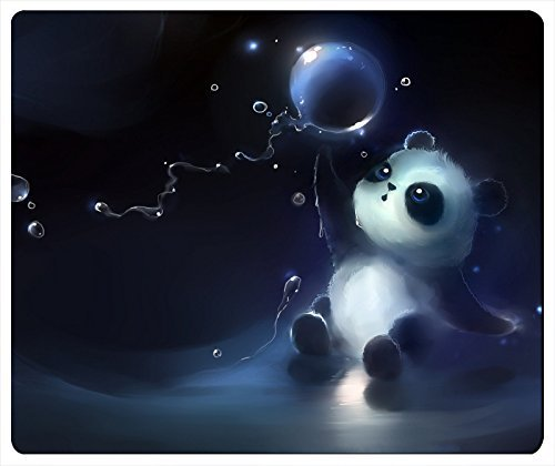 Cute Panda Catching A Bubble Artwork Rectangle Mouse Pad 240x220x3mm Thick by iCustom&Shop (81523)