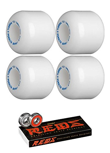 Powell-Peralta 64mm Mini-Cubic White Skateboard Wheels - 95a with Bones Bearings - 8mm Bones Reds Precision Skate Rated Skateboard Bearings (8) Pack - Bundle of 2 Items ()