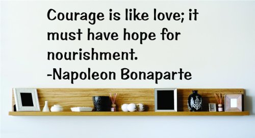 Top Selling Decals - Prices Reduced : Courage is like love; it must have hope for nourishment. - Napoleon BonapArt Image Living Room Bedroom Home Decore Famous Inspirational Life Quote SPECIAL BUY - S Picture Art Image Living Room Bedroom Home Decor Graphic Design SPECIAL BUY - S Size : 14 Inches X 28 Inches - Vinyl Wall Sticker - 22 Colors Available