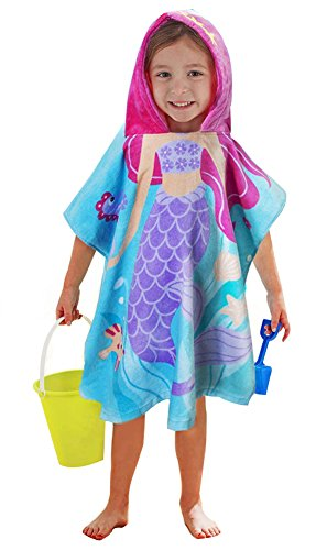 Little Mermaid 100% Cotton Hooded Towel for 2-6 Years Girls Bath Beach Pool Towel,24 x 48 inches (Mermaid)]()