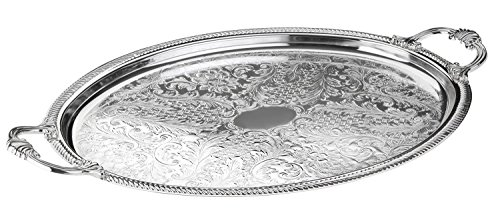 Queen Anne Large Oval Tray - Queen Anns Serving Tray Silver Plated