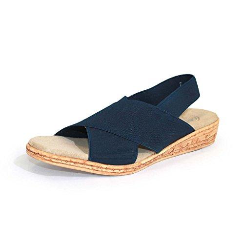 - Atlantic Sling-Back Cork Wedge Sandal - Navy - Size 9 - by Charleston Shoe Co.