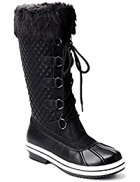 Women's Waterproof Faux Fur Lined Zipper Winter Snow Boots
