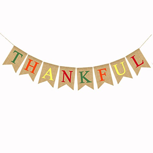 Thankful Burlap Banner Thanksgiving Bunting Banner Give Thanks Party Decoration Fall Pumpkin Party Decorations Happy Thanksgiving -