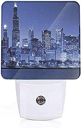 Chicago City Skyline enciende/apaga automáticamente las luces LED nocturnas por la noche: Amazon.es: Iluminación