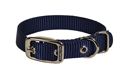 Hamilton 3/4-Inch by 22-Inch Single Thick Nylon Deluxe Dog Collar, Navy - Navy Dog Collar Hamilton