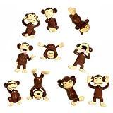 Monkey Figures - 10 Tiny Plastic Monkey Figures - Party Favors
