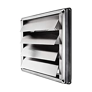 """calimaero VKE 6"""" Inch Stainless Steel External Air Vent Louvre Gravity Flap Grille"""