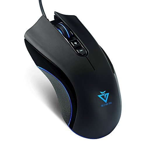 KUNG FU MANUF CTURING Gaming Mouse, Wired 4000 DPI Pro Ergonomic Optical Gaming Gamer USB Mouse with 6 Feet Cable, 6 DPI with Different LED Color Adjustable Mice