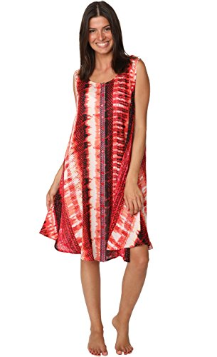 Batik Summer Dress (INGEAR Umbrella Batik Caftan Hem Dress Beach Summer Cover Up Casual Dress (One Size, Red))