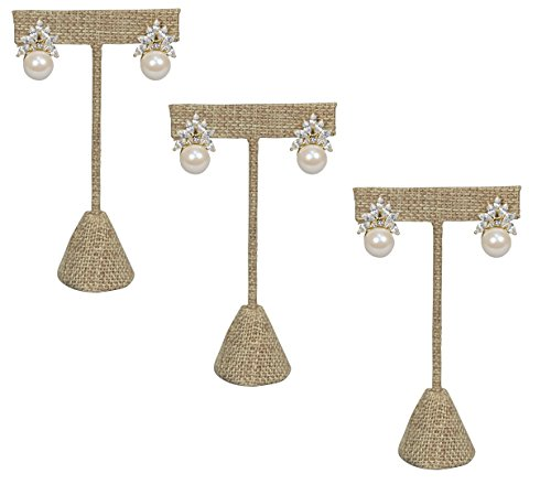 888 Display USA - 3 Burlap Fabric Earring T Stand Showcase Displays (5.75