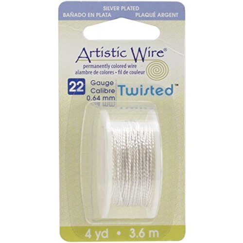 - Beadalon AWD22TS1 22 Gauge Twisted Round-Non-Tarnish Artistic Wire, 4-Yard, Silver