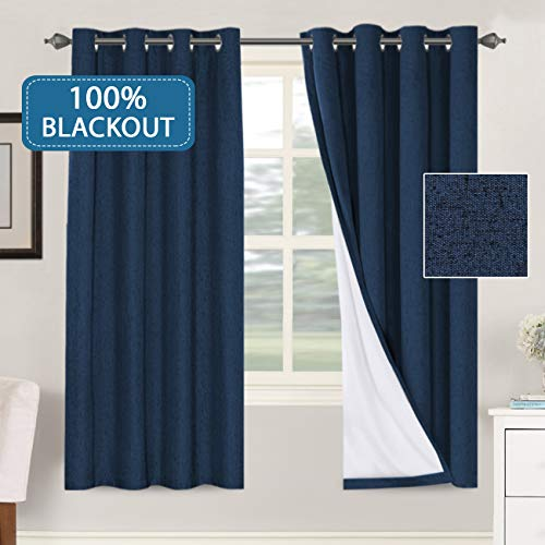 H.VERSAILTEX 100% Blackout Curtains for Bedroom Waterproof Thermal Insulated Curtains 2 Panels with White Liner Linen Textured Window Treatment Room Darkening Drapes(52 x 72 Inches