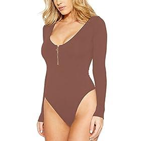 - 41gXxJS8FrL - Meyeeka Women's Scoop Neck Zipper Long Sleeve Bodysuit Stretchy Romper Jumpsuit