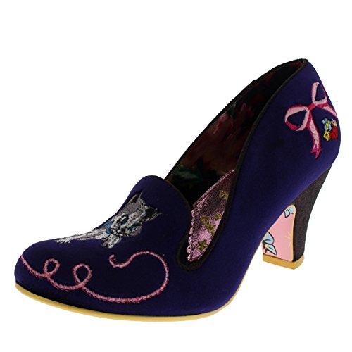 Irregular Choice Suede Heels - Irregular Choice Womens Fuzzy Peg Low Heel Velvet Kitten Court Shoes - Purple - 9