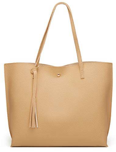 Women'S Soft Leather Tote Shoulder Bag From Dreubea, Big Capacity Tassel Handbag Beige 2, LARGE