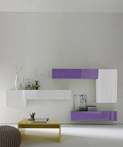 Trendy web convenienza box b bianco lucido e lilla lucido - Parete viola camera da letto ...