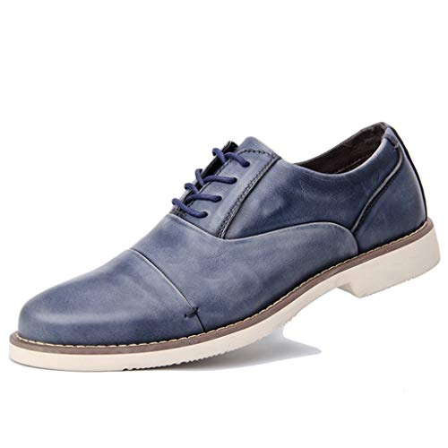 Alaec Mens Vintage Oxford Shoes Genuine Leather Shoes Lace ups Shoes Business Formal Dress Casual Shoes for Father's Gifts,Blue,43 -