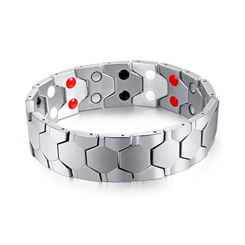 - Extra Germanium Strength Magnetic&Negative-ions Therapy 316L Stainless Steel Bracelets for Men Health Stress Relief Wristband [Free Links Removal Tool] (Silver)
