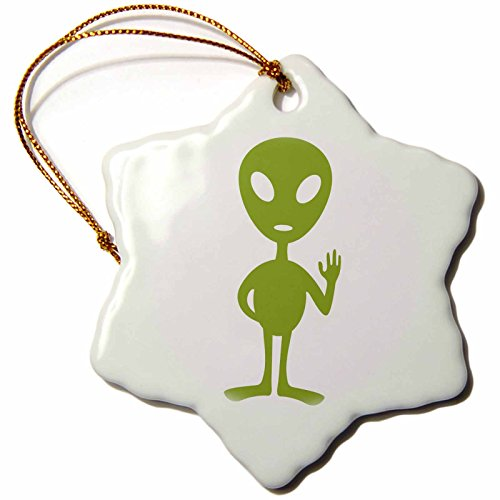 3dRose Xander Funny Quotes - Alien, Picture of a Green Alien on a White Background - 3 inch Snowflake Porcelain Ornament - Alien Pictures