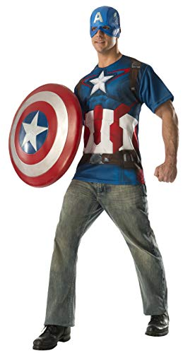 Marvel Men's Avengers 2 Age Of Ultron Adult Captain America T-Shirt Costume, Multi, Medium